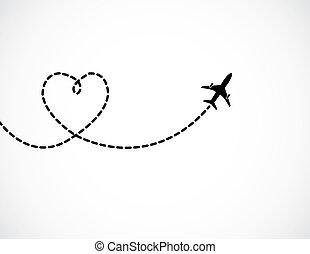 amor, formado, vuelo, cielo, salida, rastro, atrás, humo, blanco, avión