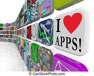 amor, iconos, apps, appplication, palabras, azulejo, exhibición, software