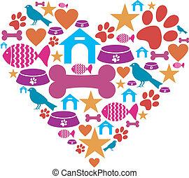 amor, mascotas, colección, icono