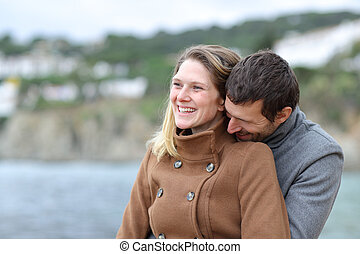 amor, pareja, invierno, feliz, playa, coquetear