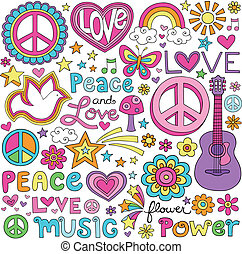amor, paz, música, cuaderno, doodles
