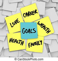 amor, riqueza, carrera, notas, pegajoso, salud, metas