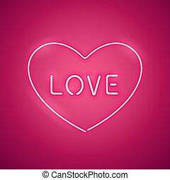 Amor rosa en la pancarta de neón del corazón