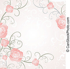 amor, rosa, marco, ilustración, romance, rosas, vector