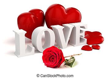 amor, rosa, texto, plano de fondo, corazones, rojo blanco, 3d