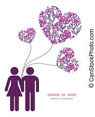 amor, vibrante, pareja, saludo, campo, siluetas, vector, plantilla, invitación, patrón, flores, marco, tarjeta