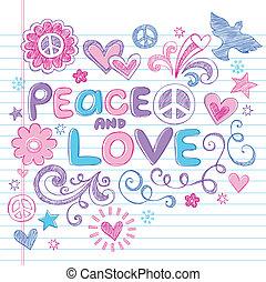 amor, y, paz, sketchy, vector, doodles