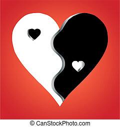 amor, yang, yin, vector, fondo rojo