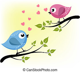 amoroso, ramas, dos pájaros