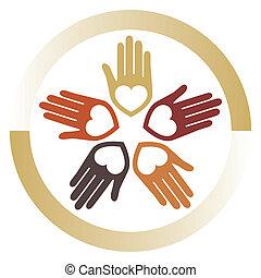 amoroso, unido, manos, vector.