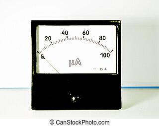 amperemeter, tabla, negro