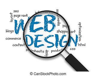 Ampliación de vidrio, diseño de Internet