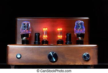 amplificador, lámpara, electrónico, encendido, bombilla