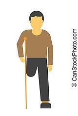 Amputado sin rostro en la ilustración vectorial de muletas aislada en blanco