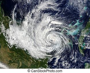 amueblado, espacio, elementos, imagen, huracán, vista, esto, nasa