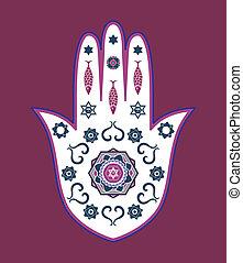 Amuleto de mano judío de Hamsa, vector