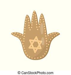 Amuleto sagrado judío y símbolo religioso, palma de David vector de ilustración en un fondo blanco