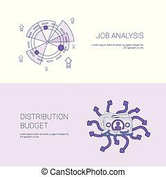 Análisis de trabajo y concepto de distribución de presupuesto. Planta web con espacio de copia
