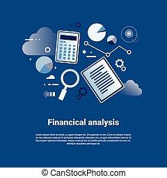 Análisis financieros, estandarte web con espacio de copia