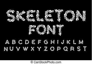anatomy., mandíbula, pelvis., spine., alfabeto, cartas, infierno, huesos, abc., asustadizo, cráneo, font., esqueleto