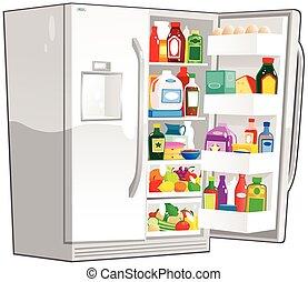 anchura, refrigerador, doble, abierto