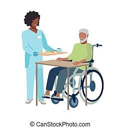 anciano, cuidado, enfermera