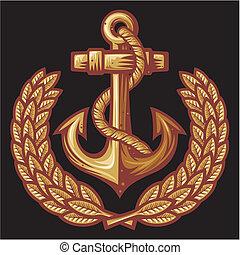 Ancla y insignia de laurel