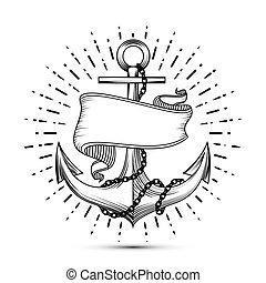 Anclas con dibujos de marineros tatuados