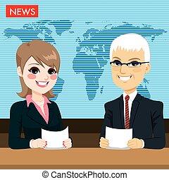 Anclas informando noticias