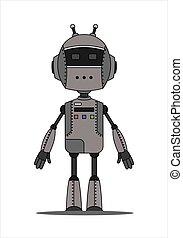 androide, robot, carácter, hierro, amistoso, antennas., dos