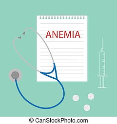 Anemia escrita en el cuaderno