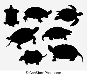 anfibio, tortuga, silueta