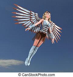 Angel de fantasía femenino con alas enormes. 3D con trayectoria y sombra sobre blanco