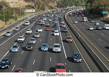 angeles, freeway., usa., los, tráfico, hollywood, 101, california