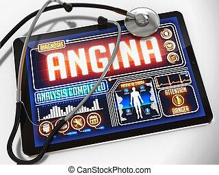 Angina en la muestra de tableta médica.