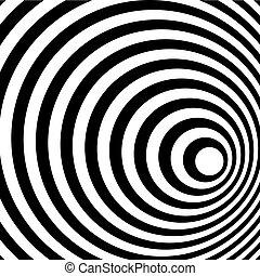 Anillo abstracto espiral de fondo blanco y negro.