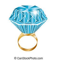 Anillo de diamante brillante, vector