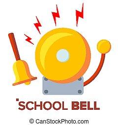 anillo, oro, vector., eléctrico, clásico, campana, aislado, mano, caricatura, eduque campana, metal, ilustración, resonante
