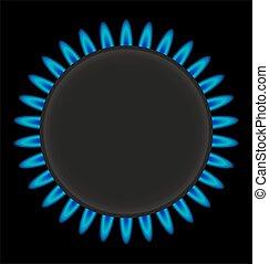 anillo, vector, asfixíe gas estufa, abrasador