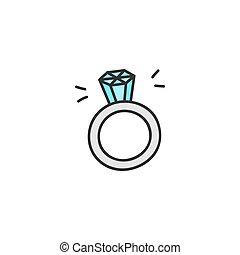 anillo, vector, diamante, illustration.