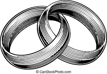 anillos, aguafuerte, estilo, woodcut, grabado, bandas, boda