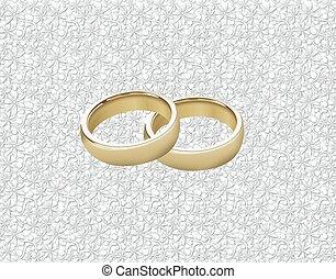 Anillos de boda en el cordón