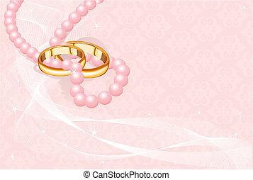 Anillos de boda en rosa