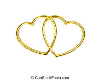 Anillos dorados con forma de corazón
