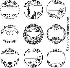 anillos, marco, redondo, boda