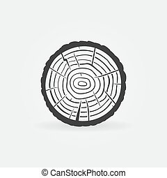 anillos, tronco, sección, árbol, cruz, madera, icono, vector