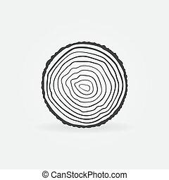 anillos, tronco, sierra, vector, árbol, corte, icono, concepto