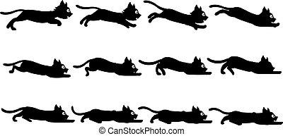 animación, negro, sprite, gato