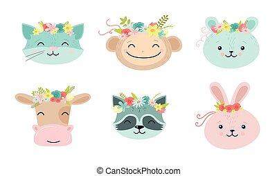 animal, caras, vector, ilustración, floral, divertido, caricatura, lindo, coronas