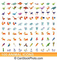 animal, caricatura, iconos, conjunto, estilo, 100